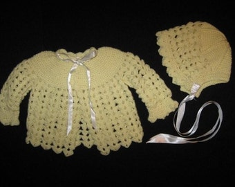 Crocheted Baby Sweater and Hat Set in Yellow