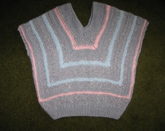 Gray, Blue and Pink Hand Knit Vest