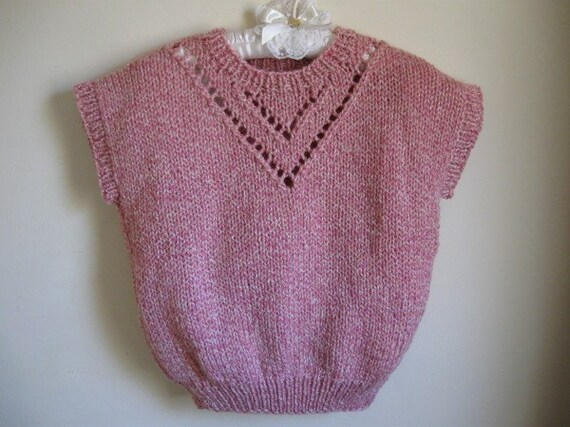 Shaded Pink and White Vest with Lace Design for Ladies