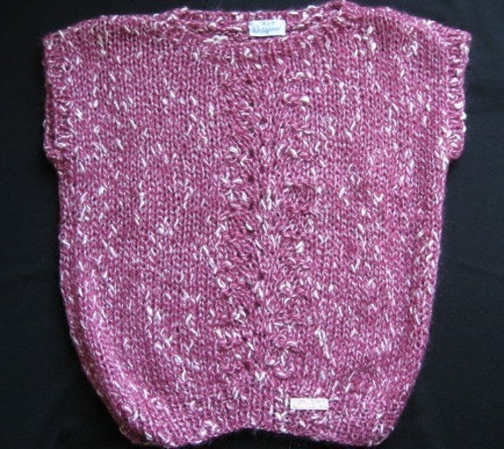 Rose and White Handknit Vest with Lace Design for Ladies