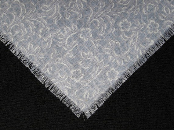 Pale Blue and White Fabric Shawl