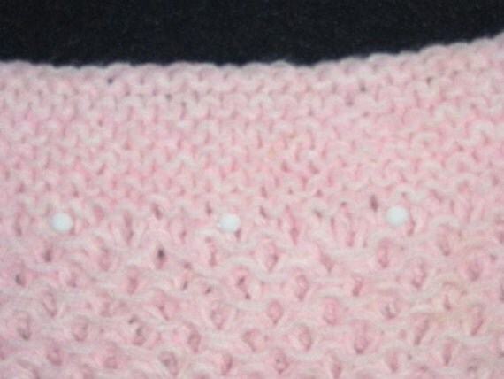 Pink and White Boatneck Vest Knitted with White Beads for Adults