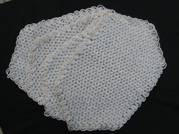 SALE-Hand Crafted Table Placemats in Cream and Blue Yarn-Set of Four