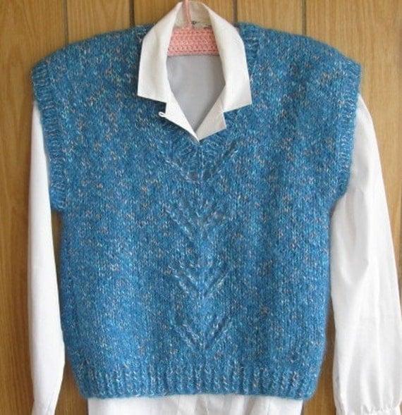 Handknit Blue Lace Panel Vest for Ladies