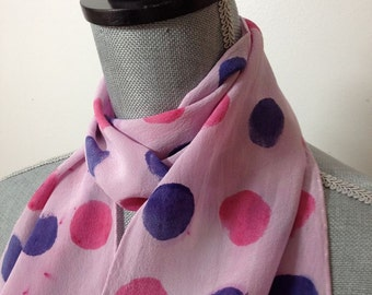 hand dyed silk scarf in pink and purple polka dots
