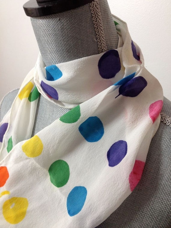 hand dyed silk scarf in candy colored polka dots