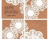 Set of 4 White Doily Notecards