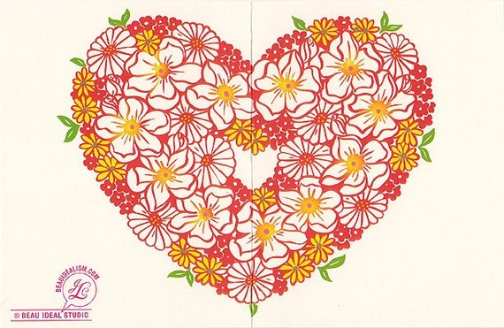 Red Floral Heart Card