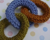 Greener TEETHER -- 3 ring ECO friendly teether--crochet in ORGANIC cotton in olive, sky blue and cinnamon--FREE SHIPPING to US and Canada