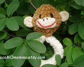 Natural Baby Rattle--Ecofriendly Baby-safe Crocheted in ORGANIC Colorgrown Cotton--Mr. Monkey FREE Shipping to US