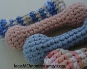 Eco-Friendly Baby-safe Small ORGANIC Cotton Crocheted Baby Toy Rattle-- your choice of colors