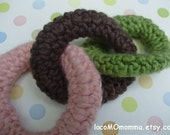 Teething Toy for Baby Girl or Boy-- ecofriendly crochet in ORGANIC cotton- walnut, and pistachio, and soft pink or blue colors