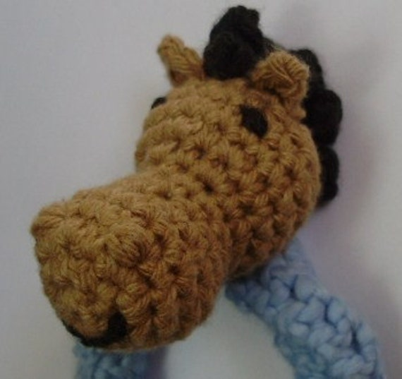 Organic Cotton Crochet Horse Baby Rattle--Giddy-up--Free shipping to US