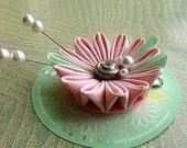 Pink, Pearl and Rhinestone Kanzashi Hair Clip