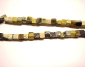Yellow and green turquoise 5mm square beads