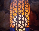 Eco Friendly Recycled Bottle Lighted Mosaic Stained Glass Sunset Lamp