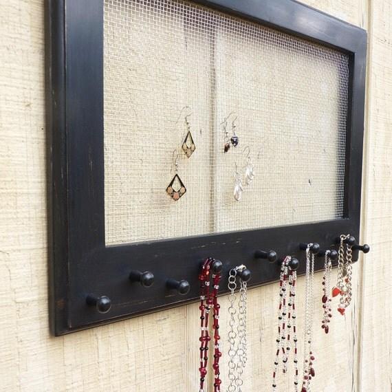 Jewelry Display Organization Frame Shown In Black Distressed Finish