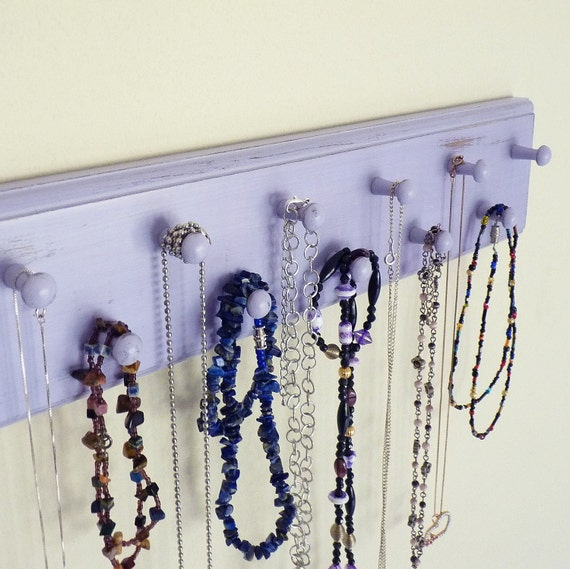 Shabby Cottage 12 Peg Necklace Organizer Shown in Lavender