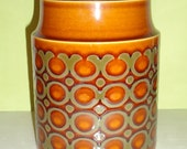 HORNSEA Ceramic Storage Jar BRONTE Pattern RETRO Brown Container