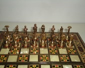 Vintage Small CHESS and BACKGAMMON Game Set - Greek or Roman Gods