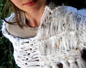 RESERVED White Hand Knit Scarf with Fringe - Snow Leopard Inspired White Scarf with Black and Tan Speckles