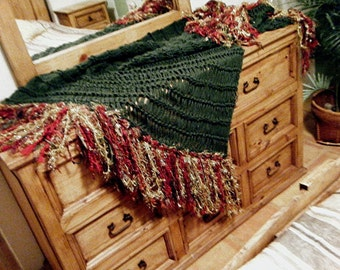 Christmas Holiday Home Decor Accent Throw Blanket, Gold Green Red Fringe, Interior Design Afghan Lap Warmer for Family