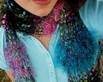 Punk Rock Jewel Scarf Hot Pink, Green, Turquoise, Black, 80's Attitude Hand Knit See Through Lightweight Scarf