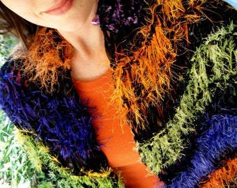 Scarf Shawl Hand Knit Wrap, Fancy and Bold Ribbon Shawl in Purples, Greens, Oranges, Chartreuse, Black, Generous Size, Full Fringe
