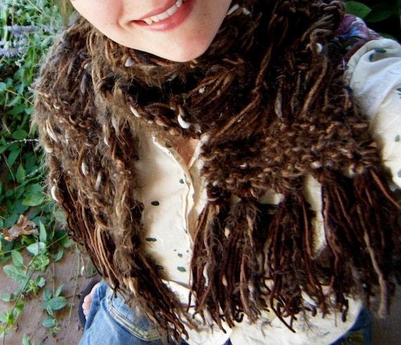 Scarf - Dark Brown Hand Knit Chocolate Ganache with Fringe - Warm, Snuggly, Cuddly, Furry