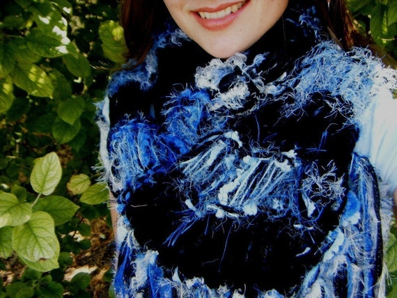 RESERVED Stripe Scarf - Blue, Black, White Hand Knit with Fringe - 7 Feet Extra Long