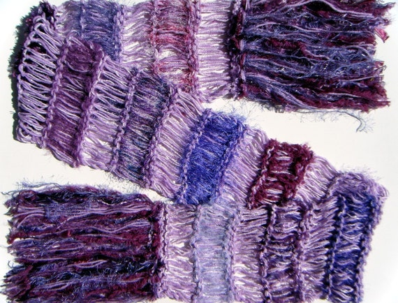 RESERVED All Purple Chunky Knit Scarf in Violet, Lavender, Amethyst, Lilac - Extra Long with Fringe 'The Perp'