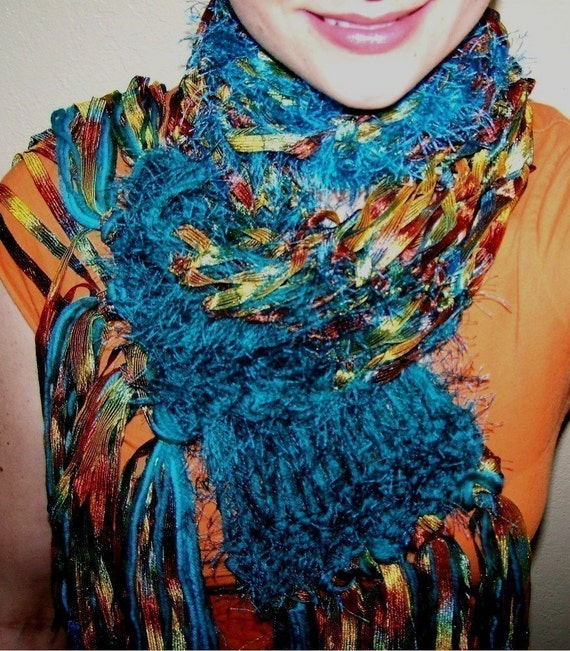 Bradberry Downs Blue Aqua Teal Light Green Yellow Wool: Blue Copper Teal Handknit Ribbon Scarf Gold And Turquoise