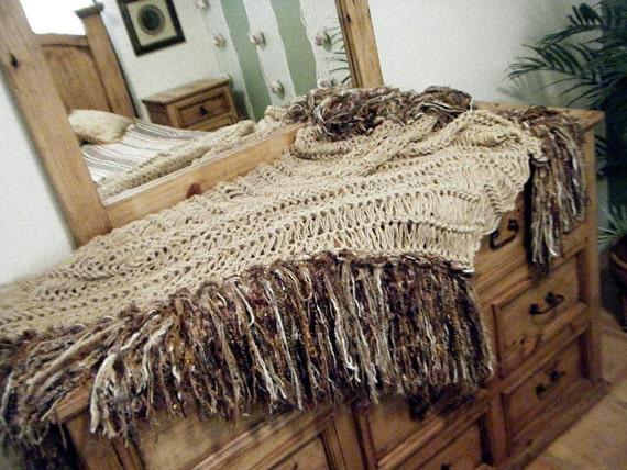 Brown Beige Fringe Home Decor Throw Blanket By