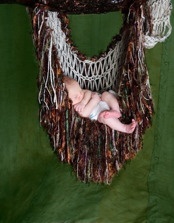 Fringie Baby Blanket Hammock Sling Photo Prop (You Choose Colors, Shown in 'Woodsprite' Cream, Brown, Green)