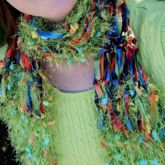 Scarf - Lime Green Multicolor Ribbon. Hand Knit with Fringe - POW, Tropical Rainbow Explosion, Right in the Kisser