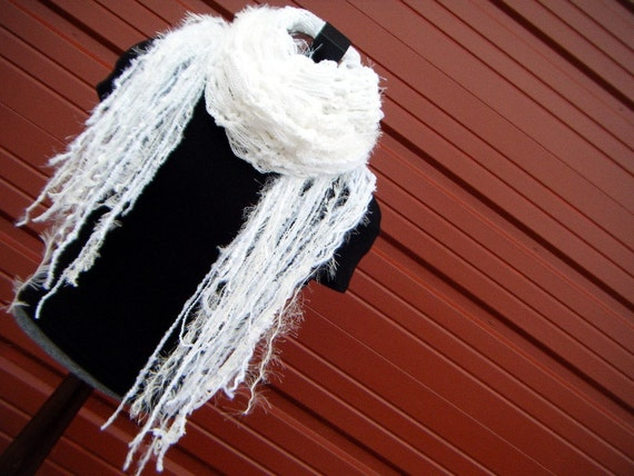 Feathery Fringe Swan White Handknit Scarf. Extra Long NINE FEET Length - 'Flutter' -