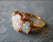 Vintage Estate Opal Trio RIng - Gold Plated Sterling