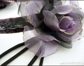 RESERVED FOR CREEPYSUSIE - Floral Headdress by Kambriel - Pale Amethyst Velvet and Gossamer Roses