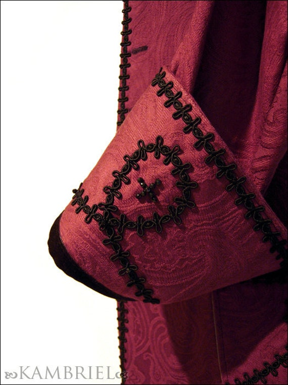 The Pale Court - Wine Brocade Frock Coat - One of a Kind Tribute Piece