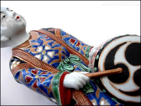 Vintage Chinese Japanese Handpainted Ceramic Porcelain Drummer Figure