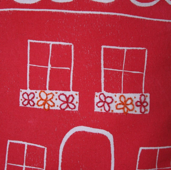 Handmade house pillow in red