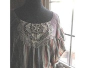 WINGS OF A MOTH Butterfly Wing Top With Waist Ties and Appliqued Doily Bodice