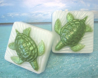Soap. Sea Turtle  with scent of Beach Daisies- blend of lemongrass, daisy, ylang ylang. Marine, Ocean animal.
