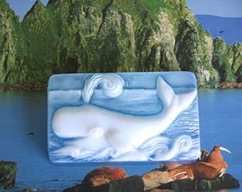 Soap. Sperm Whale with fragrance of Beach Daisies, an aromatic blend of Lemongrass, Daisy and Gardenia.