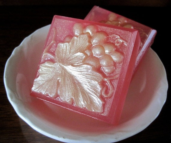Special. Set of 2. Grape Leaf Soap with fragrance of Twigs and Berries. All natural glycerin.