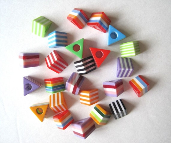 SUPPLIES.  24 triangular striped bakelite beads. Colorful mixed summer colors.