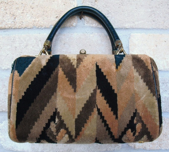 Vintage Black and Earth Tones Tapestry Purse