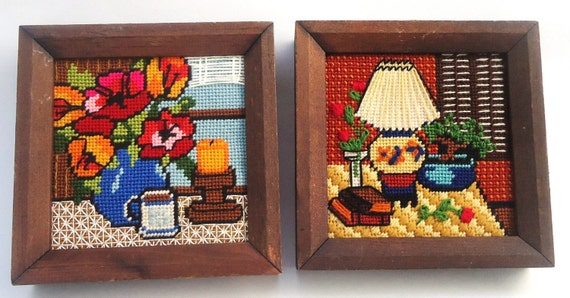 Vintage 1970s FRAMED NEEDLEPOINT Still Life Pictures