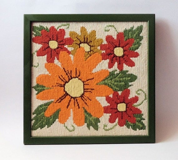 VINTAGE 1970's Framed NEEDLEPOINT Flowers