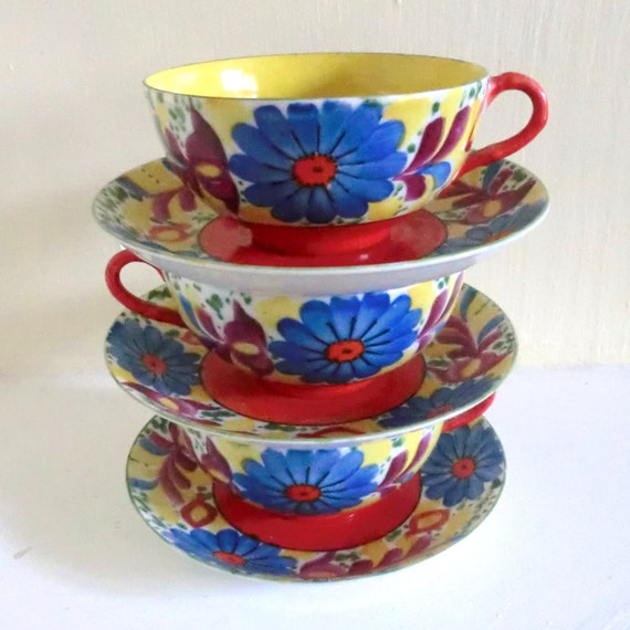 VINTAGE Cups and Saucers Bright Floral Print